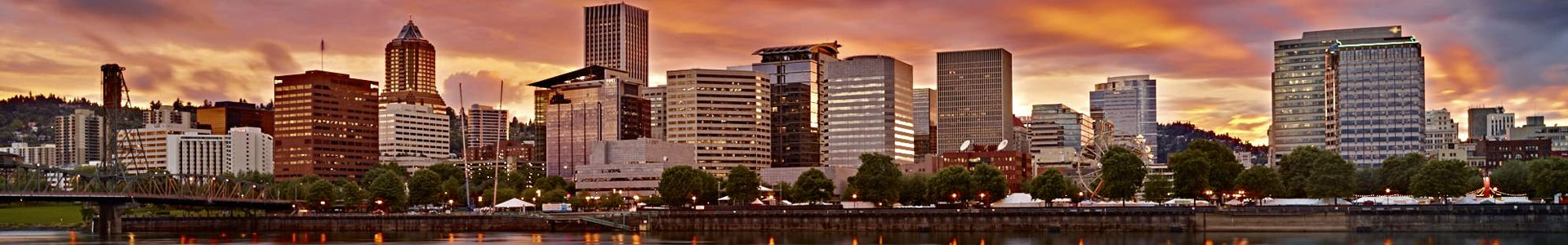 Downtown Portland Oregon cityscape at sunset